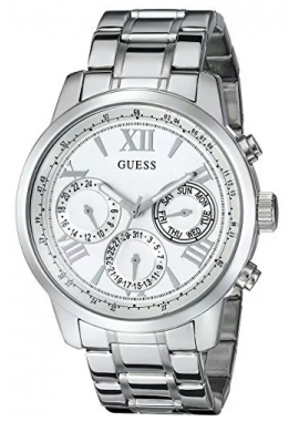 Guess U0330L3 Reloj de mujer deportivo Plateado Acero Inoxidable Reloj con Dial Multifunción