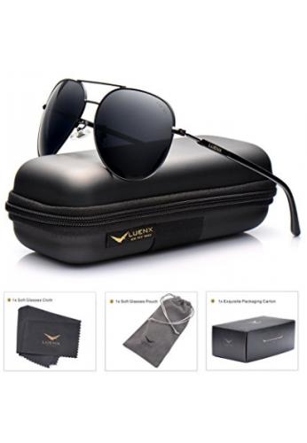 Anteojos de sol polarizados Luenx aviadores para hombres y mujeres con funda - UV 400