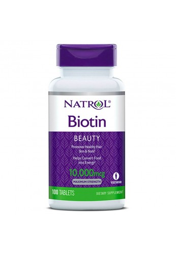 Biotina 10.000 Mcg Natrol 100 Tabletas