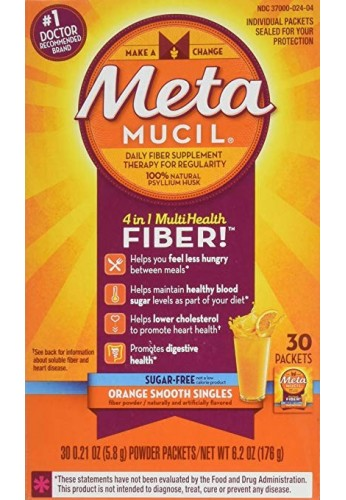 Metamucil - MultiHealth Fiber Singles Orange Smooth Sugar-Free, 0.21 Ounce, Pack of 30